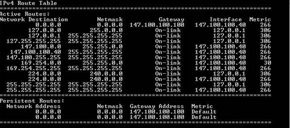 The routing tables